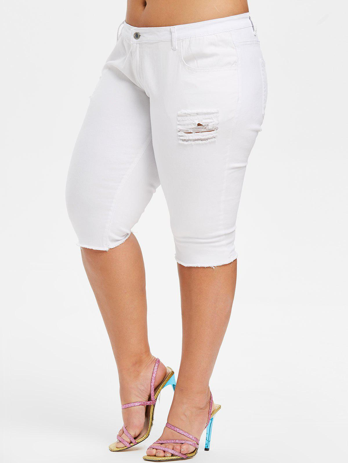 Buy Plus Size Ripped Denim Capri Pants