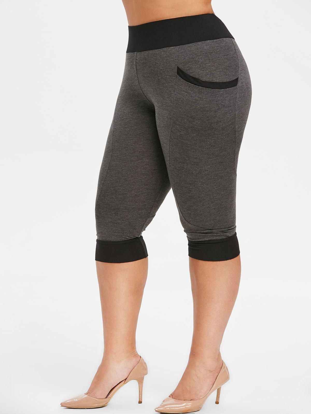 Online Plus Size Side Pockets Contrast Color Capri Leggings