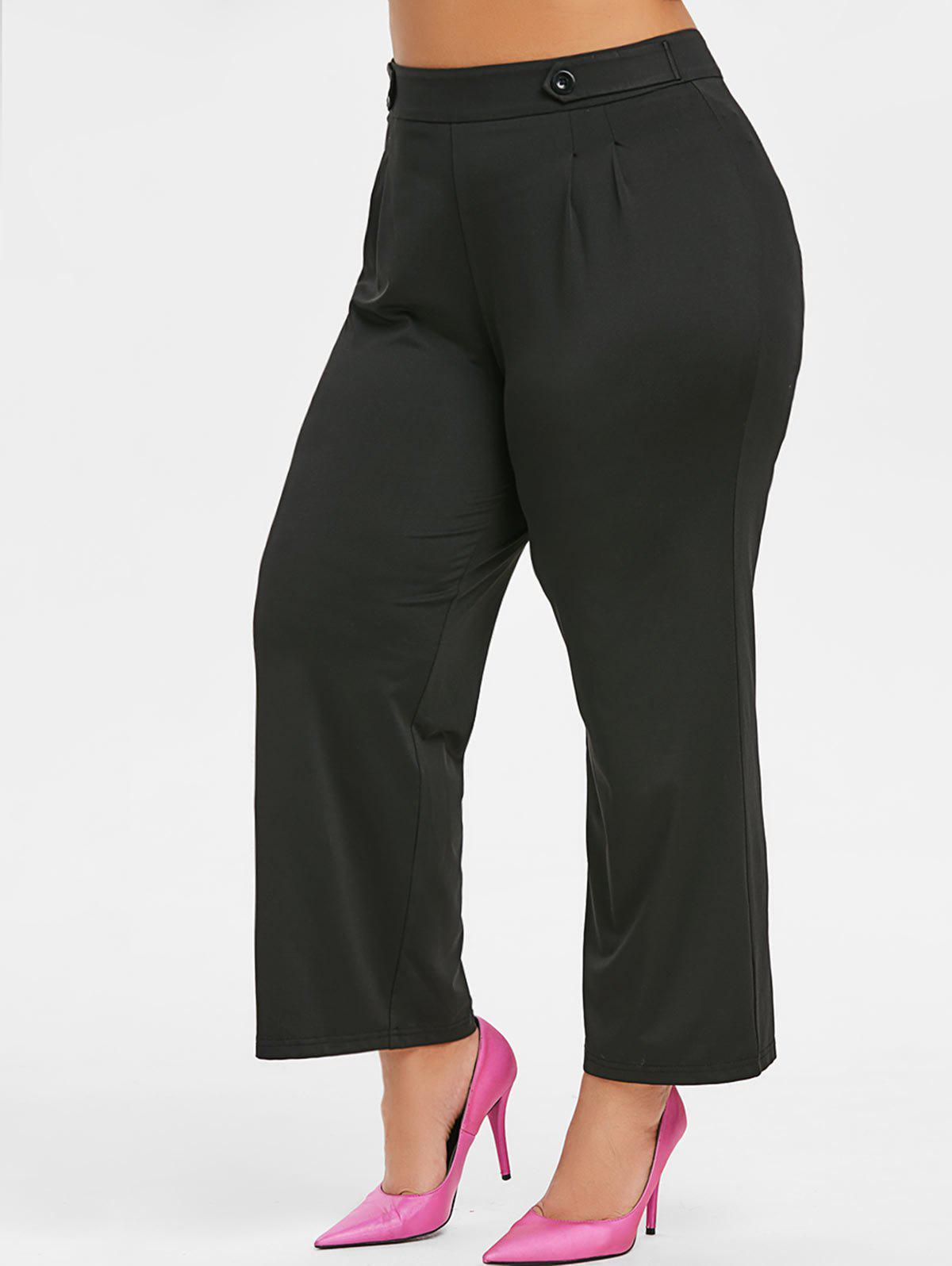 Latest Plus Size High Waist Solid Button Pants