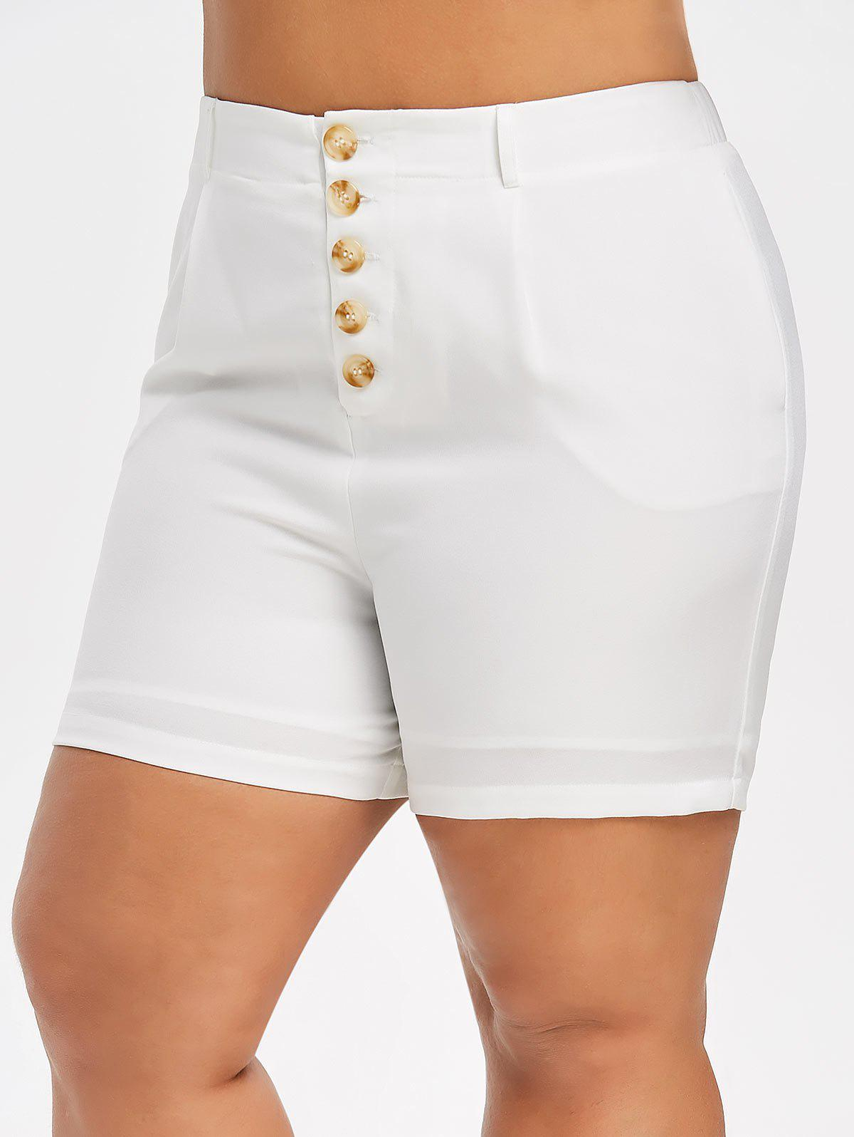 Trendy Plus Size High Rise Buttoned Shorts