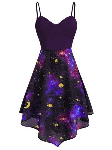Plus Size Starry Asymmetric Moon and Star Cami Dress