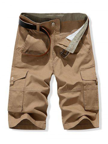 Solid Color Leisure Cargo Shorts