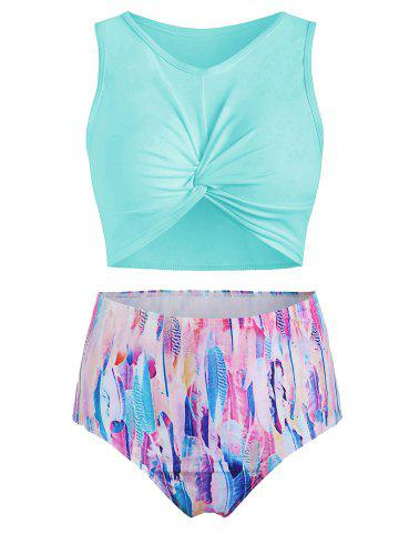 Scoop Neck Feather Print Padded Tankini Swimsuit