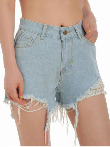 Ripped Pocket Jean Shorts