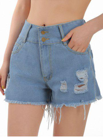 Ripped Pocket Frayed Hem Jean Shorts