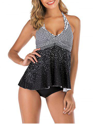 Halter Backless Printed Crossover Tankini Swimsuit