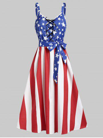 Patriotic American Flag Lace Up A Line Dress