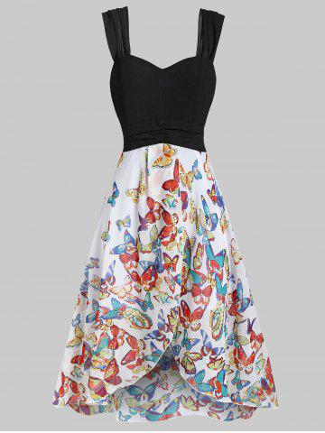 Sweetheart Neck Butterfly Print Chiffon Dress