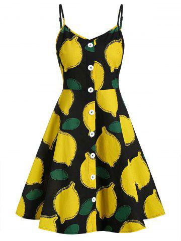 Lemon Print Buttoned A Line Cami Dress