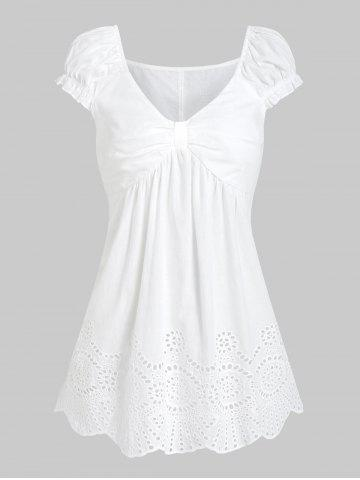 Ruched Broderie Anglaise Flare T-shirt