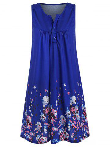 Floral Print Sleeveless Notched Dress