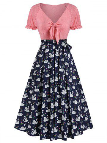 Swan Print Knot Front Vintage Midi Swing Dress