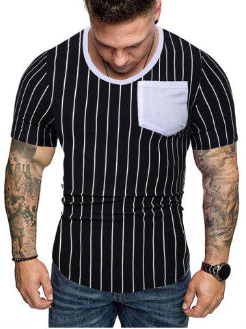 Color Block Chest Pocket Spliced Vertical Stripes Print T-shirt
