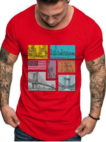 American Flag City Graphic Print Casual T-shirt
