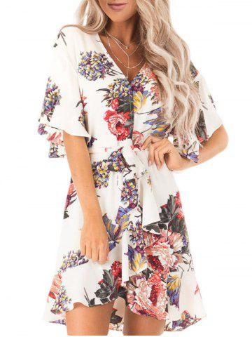 Floral High Low Belted Dress