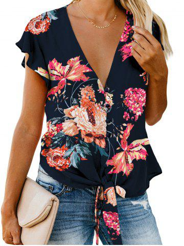 Button Up Plunging Floral Blouse