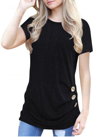 Buttons Round Neck Marled Tee