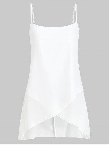 Asymmetric Backless Overlap Spaghetti Strap Top