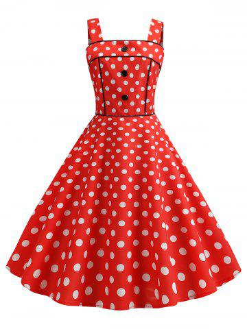 Polka Dot Square Neck Party Dress