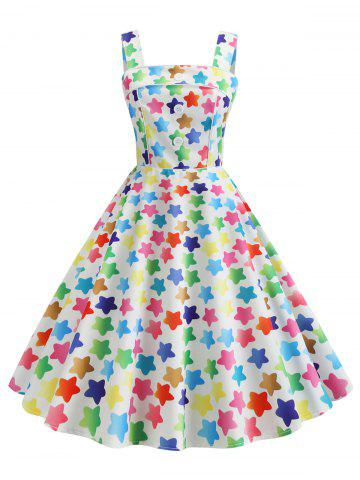 Star Print Square Neck Party Dress