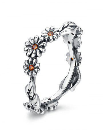 Flower Design Alloy Rhinestone Ring