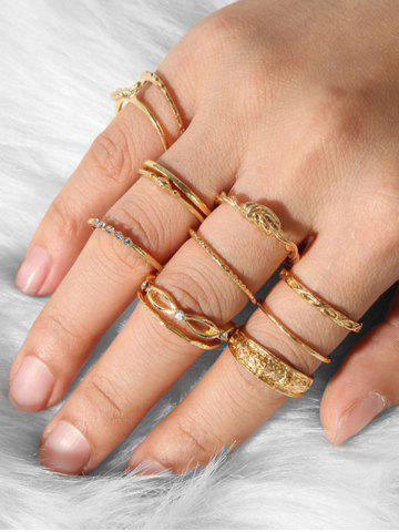12Pcs Rhinestone Carved Knot Ring Set