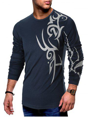 Tattoo Print Mesh Long Sleeves Casual T-shirt