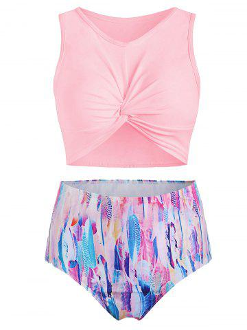 Scoop Neck Feather Print Padded Tankini Swimsuit - PIG PINK - 3XL