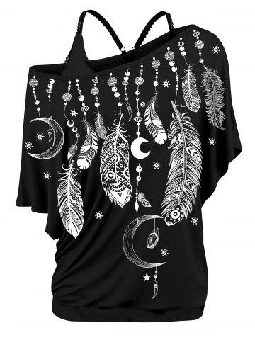 Plus Size Feather Print Skew Neck T-shirt and Tank Top Set - BLACK - 3X