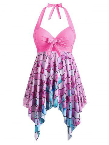 Bowknot Palm Tree Flamingo Fish Scale Polka Dot Plus Size Tankini Set - HOT PINK - 2X