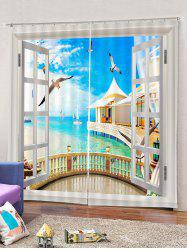 2PCS Window Seagulls Sky Window Curtains -