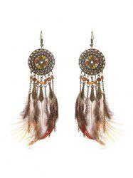 Feather Fringe Hollow Round Vintage Earrings -