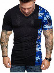 Camouflage Print Splicing Chest Pocket T-shirt -