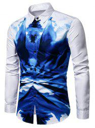 Ink Painting Print Party Club Long Sleeves Shirt -