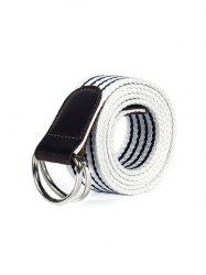 Double Ring Buckle Canvas Knitted Striped Pattern Belt -