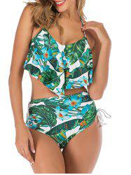 Flounce Halter Knotted Cinched Print Bikini Swimsuit -