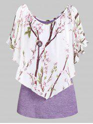 Scoop Collar Printed T Shirt -