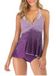 Halter Backless Printed Crossover Tankini Swimsuit -