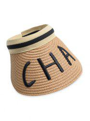 Letter Embroidery Visor Straw Hat -