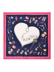 Cartoon Heart Silky Twill Square Scarf -