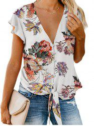 Button Up Plunging Floral Blouse -