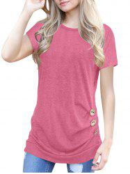 Buttons Round Neck Marled Tee -