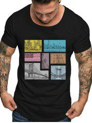 American Flag City Graphic Print Casual T-shirt -