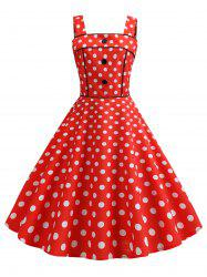 Polka Dot Square Neck Party Dress -
