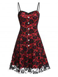Buttoned Flower Lace Mini Cami Dress -