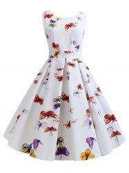 Butterfly Print Belted Party Dress -