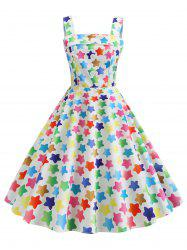 Star Print Square Neck Party Dress -