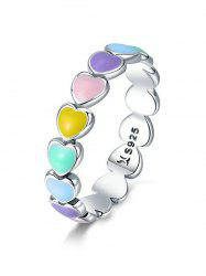 Colorful Love Heart Shape 925 Silver Ring -