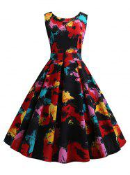 Oil Painting Floral V Neck Party Dress -