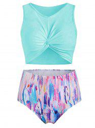 Scoop Neck Feather Print Padded Tankini Swimsuit -